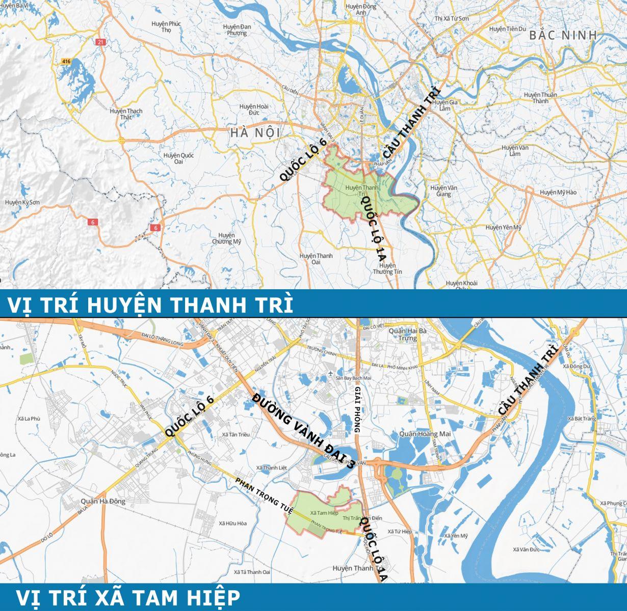 Bản đồ Trang trại hoa cây cảnh thăng Long - khu vực Xã Tam Hiệp