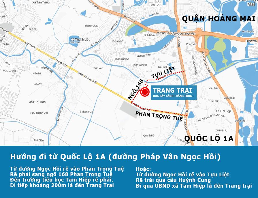 Bản đồ Trang trại hoa cây cảnh thăng Long - Hướng đi từ Pháp Vân tới