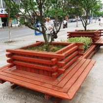 Bồn chậu gỗ trồng cây thân gỗ lớn